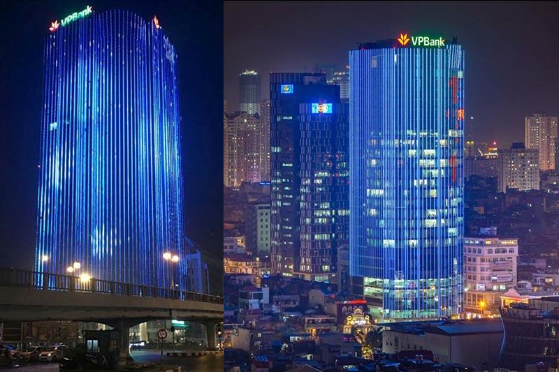 Đèn Led trang trí tòa nhà gây sốt giữa lòng Hà Nội 1